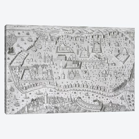 Town map of Constantinople, Turkey, c.1650  Canvas Print #BMN1354} by Jaspar de Isaac Canvas Art Print