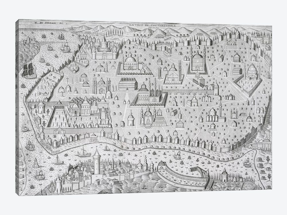 Town map of Constantinople, Turkey, c.1650  1-piece Canvas Art