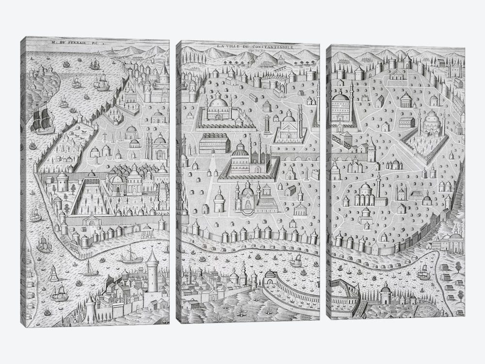 Town map of Constantinople, Turkey, c.1650  3-piece Canvas Art