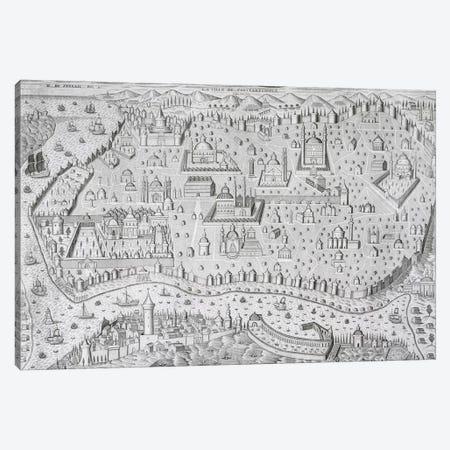 Town map of Constantinople, Turkey, c.1650  Canvas Print #BMN1354} by Jaspar de Isaac Canvas Art Print