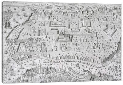 Town map of Constantinople, Turkey, c.1650  Canvas Art Print