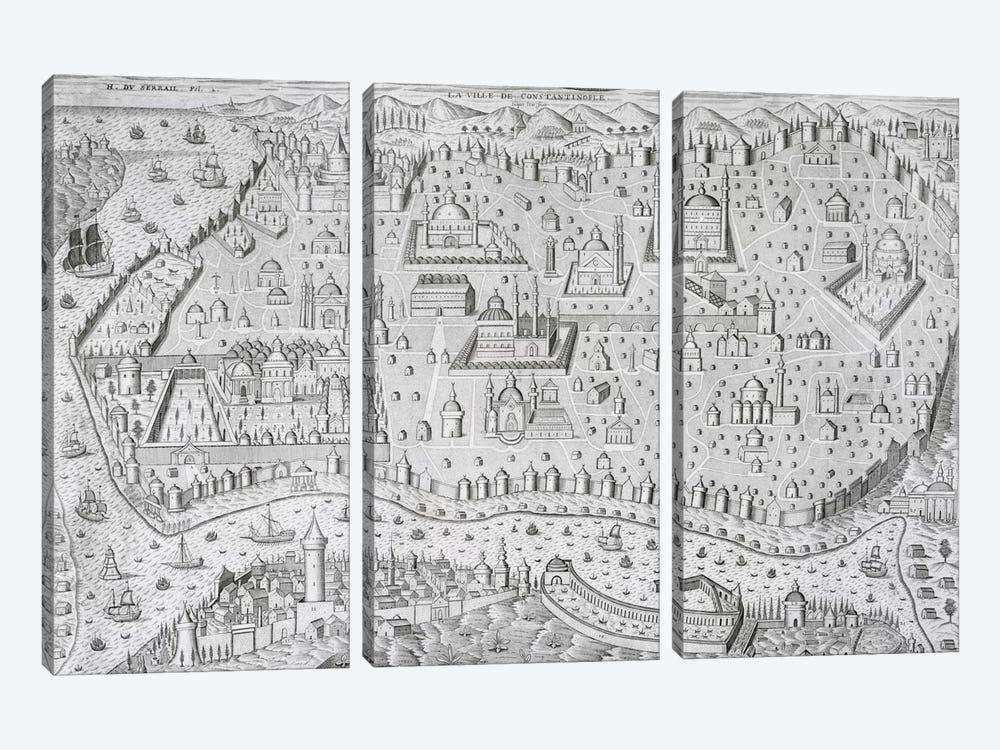 Town map of Constantinople, Turkey, c.1650  by Jaspar de Isaac 3-piece Canvas Art