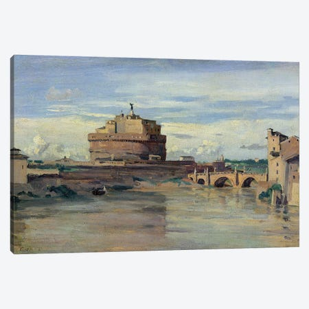 Castel Sant' Angelo and the River Tiber, Rome  Canvas Print #BMN1357} by Jean-Baptiste-Camille Corot Art Print