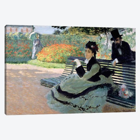 Madame Monet on a Garden Bench Canvas Print #BMN1362} by Claude Monet Canvas Print