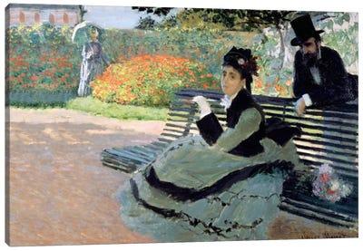Madame Monet on a Garden Bench Canvas Print #BMN1362