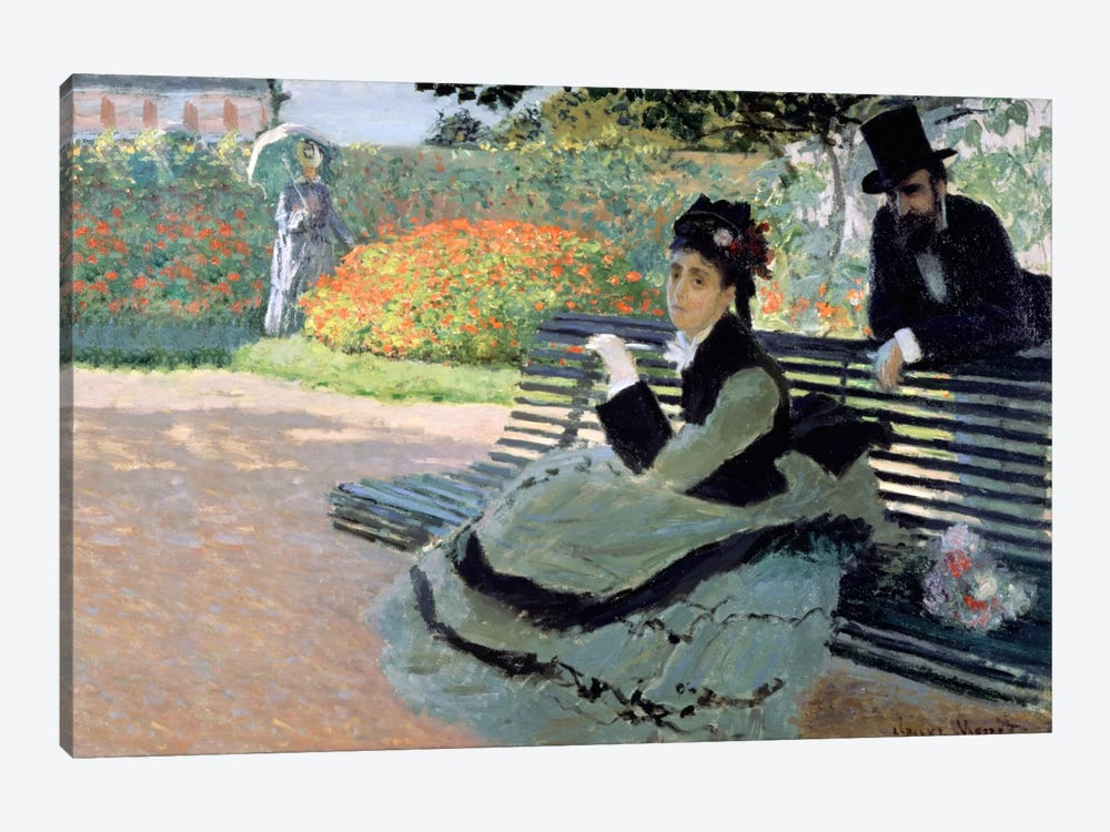 Madame Monet on a Garden Bench by Claude Monet 1-piece Canvas Art Print