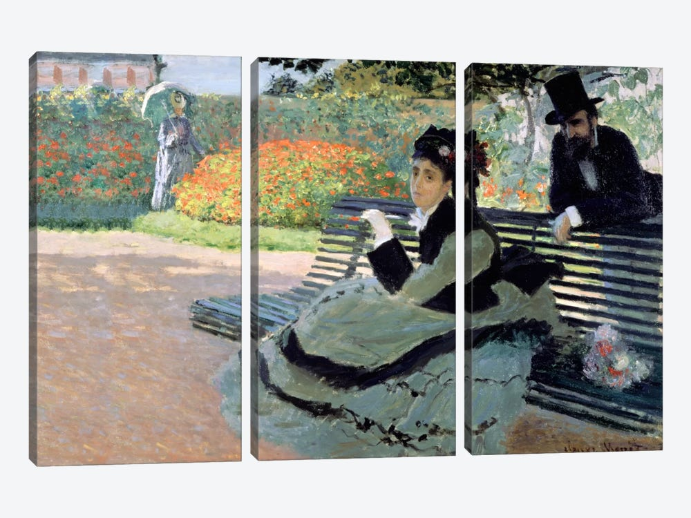 Madame Monet on a Garden Bench by Claude Monet 3-piece Canvas Print