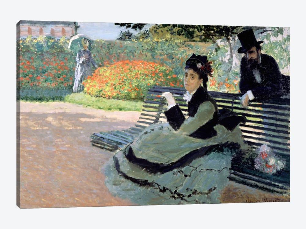 Madame Monet on a Garden Bench by Claude Monet 1-piece Canvas Art Print