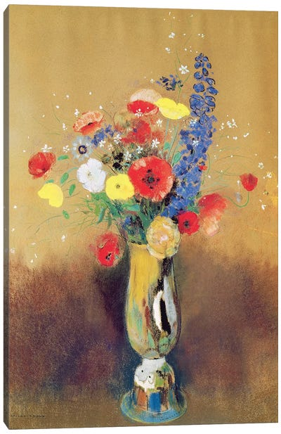 Wild flowers in a Long-necked Vase, c.1912  Canvas Art Print