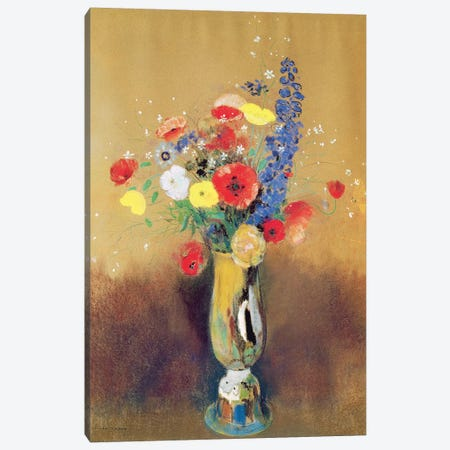 Wild flowers in a Long-necked Vase, c.1912  Canvas Print #BMN1363} by Odilon Redon Art Print