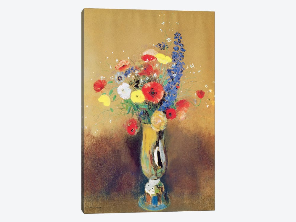 Wild flowers in a Long-necked Vase, c.1912  by Odilon Redon 1-piece Canvas Wall Art