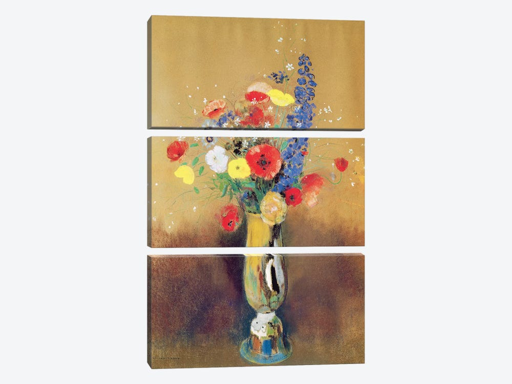 Wild flowers in a Long-necked Vase, c.1912  by Odilon Redon 3-piece Canvas Artwork