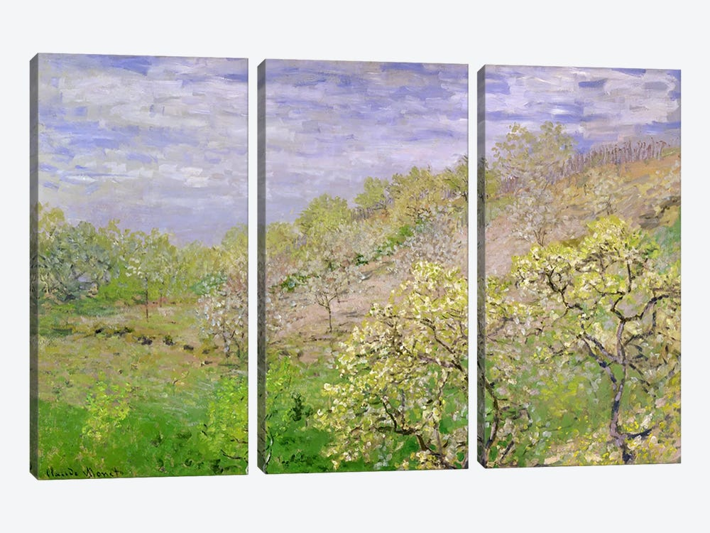 Trees in Blossom by Claude Monet 3-piece Canvas Print