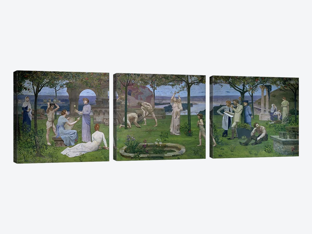 Between Art and Nature, 1890 3-piece Canvas Print
