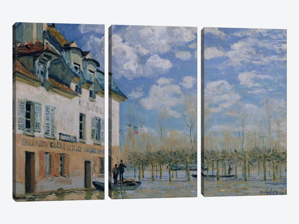 The Boat in the Flood, Port-Marly, 1876  by Alfred Sisley 3-piece Canvas Artwork