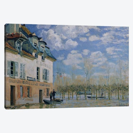 The Boat in the Flood, Port-Marly, 1876  Canvas Print #BMN1367} by Alfred Sisley Canvas Art