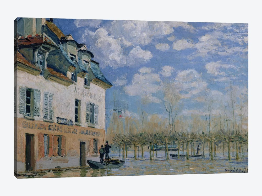 The Boat in the Flood, Port-Marly, 1876  by Alfred Sisley 1-piece Canvas Art