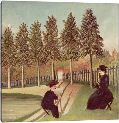 The Artist Painting His Wife, 1900-05 Canvas Art Print