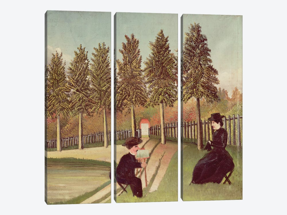 The Artist Painting His Wife, 1900-05 3-piece Canvas Wall Art