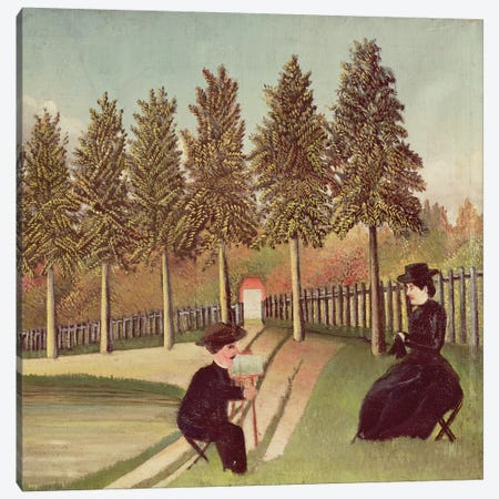 The Artist Painting His Wife, 1900-05 Canvas Print #BMN1369} by Henri Rousseau Canvas Art Print