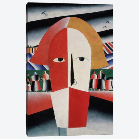 Head of a Peasant, c.1930 (oil on plywood) Canvas Print #BMN136} by Kazimir Severinovich Malevich Art Print