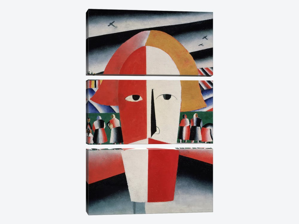 Head of a Peasant, c.1930 (oil on plywood) by Kazimir Severinovich Malevich 3-piece Art Print
