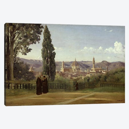 View of Florence from the Boboli Gardens, c.1834-36  Canvas Print #BMN1371} by Jean-Baptiste-Camille Corot Canvas Art