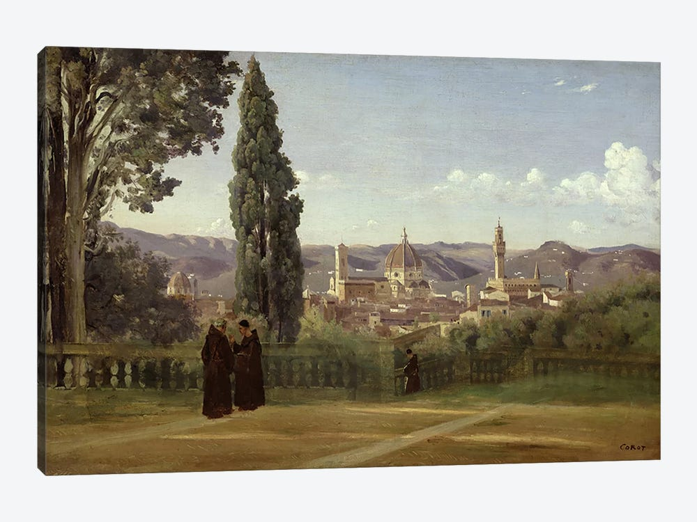 View of Florence from the Boboli Gardens, c.1834-36  by Jean-Baptiste-Camille Corot 1-piece Canvas Art Print