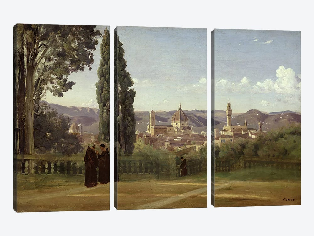 View of Florence from the Boboli Gardens, c.1834-36  by Jean-Baptiste-Camille Corot 3-piece Canvas Art Print