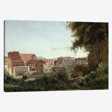 View of the Colosseum from the Farnese Gardens, 1826  Canvas Print #BMN1372} by Jean-Baptiste-Camille Corot Canvas Wall Art