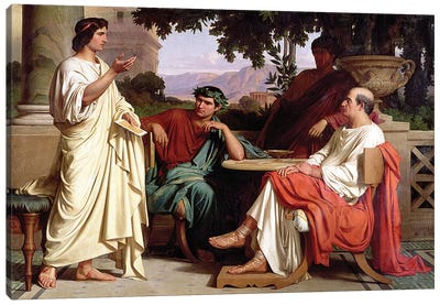 Horace, Virgil and Varius at the house of Maecenas Canvas Art Print