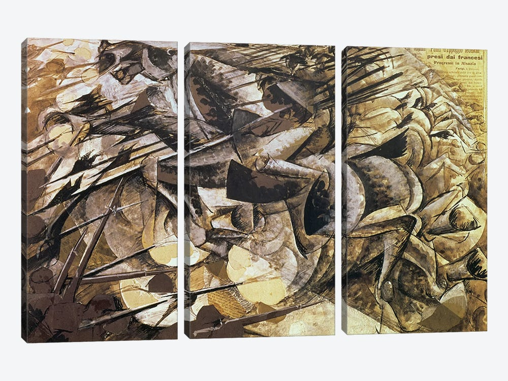 The Charge of the Lancers, 1915 by Umberto Boccioni 3-piece Canvas Artwork