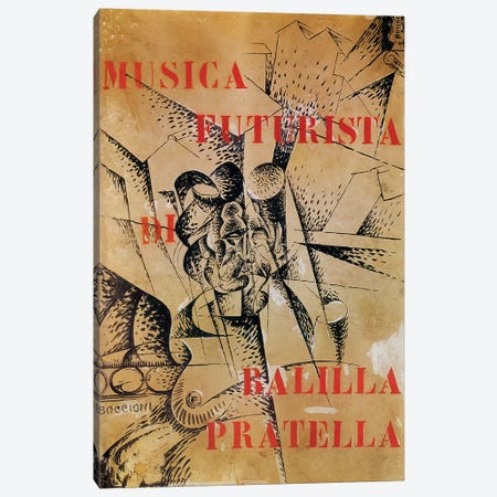 Design for the cover of 'Musica Futurista' by Francesco Balilla Pratella  Canvas Print #BMN1378} by Umberto Boccioni Canvas Wall Art