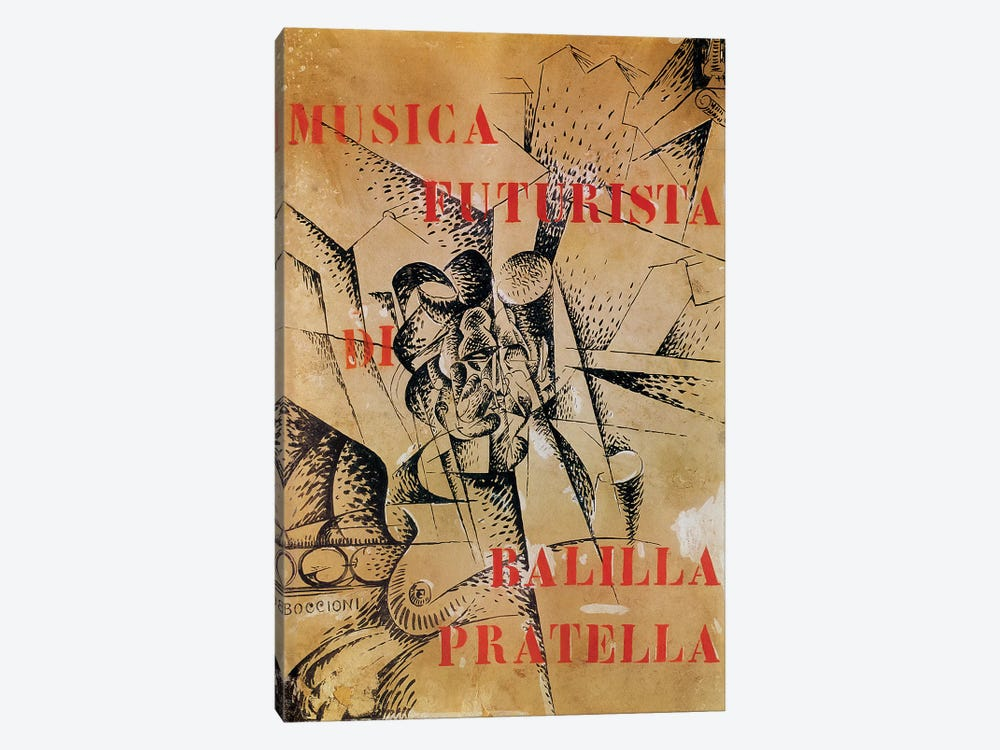Design for the cover of 'Musica Futurista' by Francesco Balilla Pratella  by Umberto Boccioni 1-piece Canvas Artwork