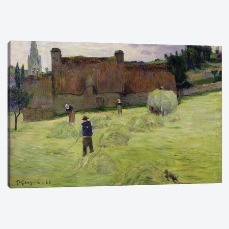 Haymaking in Brittany, 1888  Canvas Print #BMN1379} by Paul Gauguin Canvas Art
