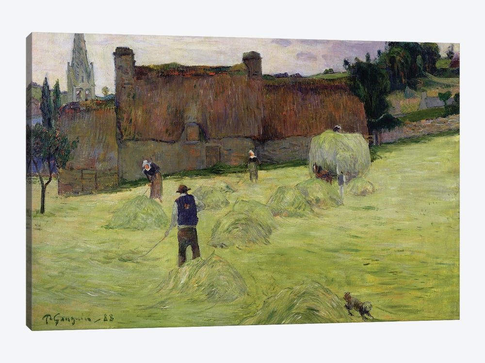 Haymaking in Brittany, 1888  by Paul Gauguin 1-piece Canvas Art Print