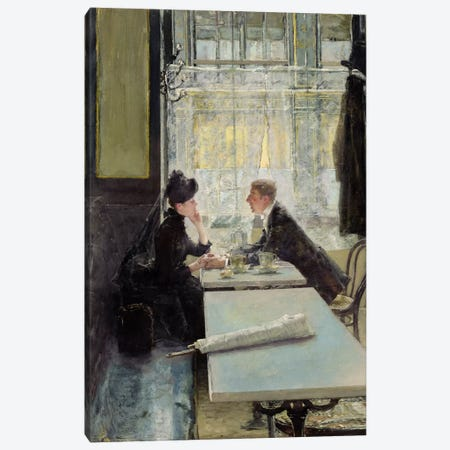 Lovers in a Cafe  Canvas Print #BMN1384} by Gotthardt Johann Kuehl Canvas Wall Art
