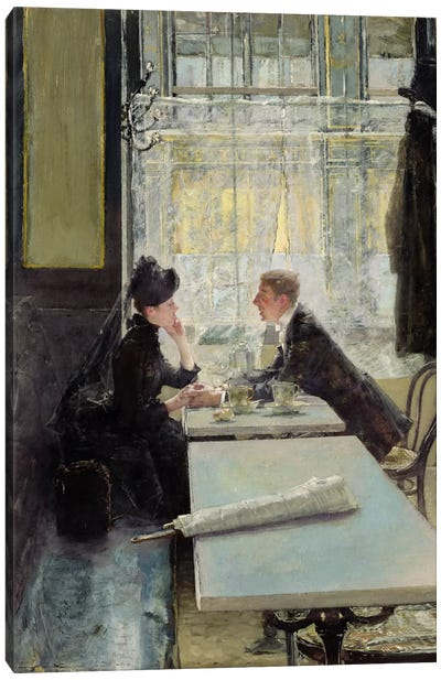 Lovers in a Cafe  Canvas Art Print