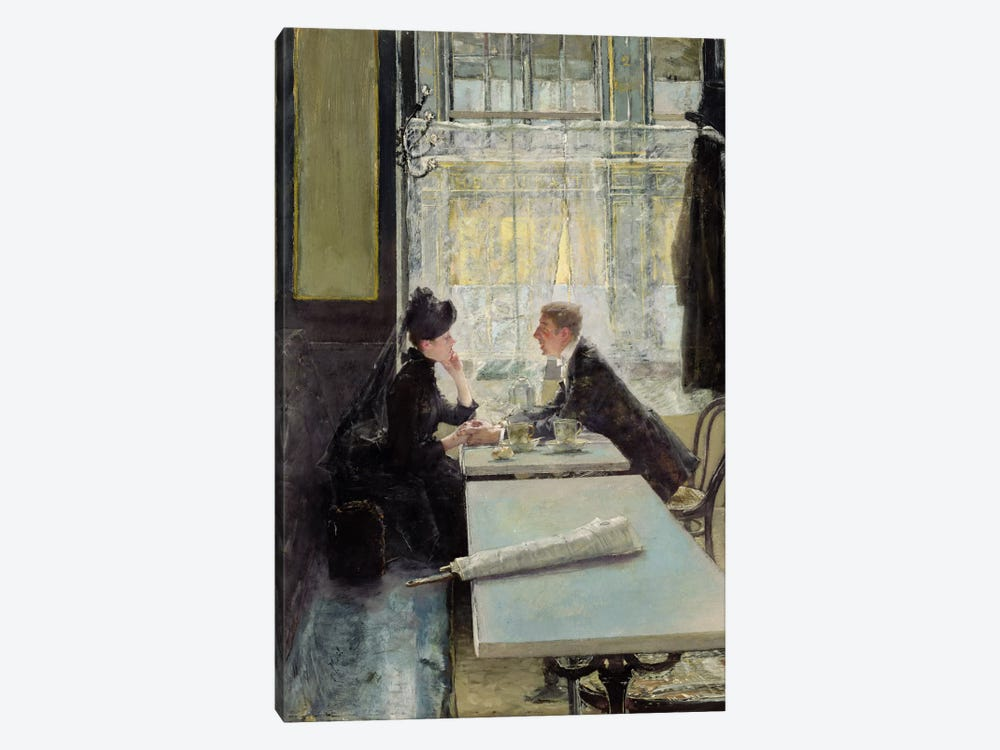 Lovers in a Cafe  by Gotthardt Johann Kuehl 1-piece Canvas Print