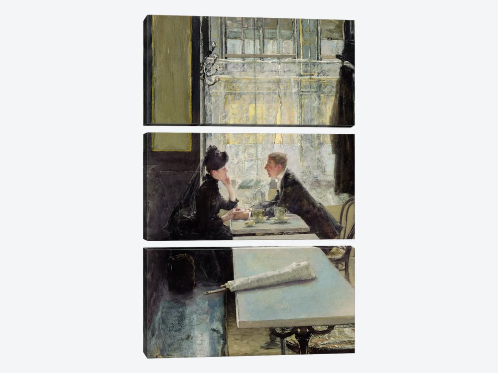Lovers in a Cafe  by Gotthardt Johann Kuehl 3-piece Art Print