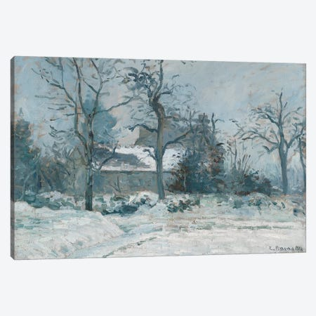 Piette's House at Montfoucault, Snow Effect, 1874  Canvas Print #BMN1385} by Camille Pissarro Canvas Artwork