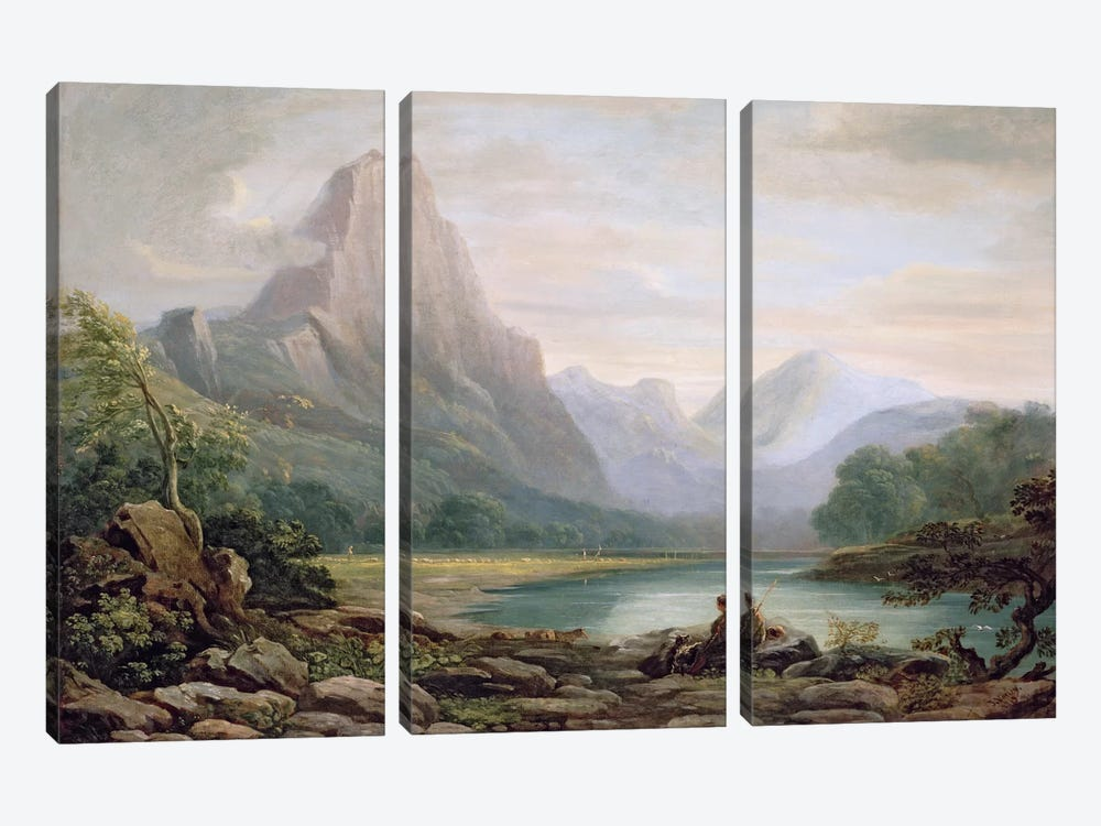 A Welsh Valley, 1819 by John Varley 3-piece Art Print
