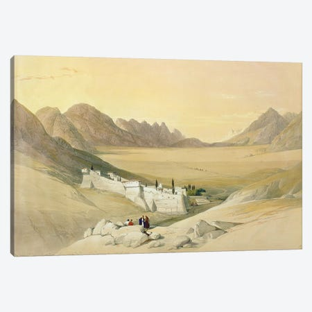 The Convent Of St. Catherine, Mount Sinai, Plain Of The Encampment In The Background (Feb. 21st, 1839), The Holy Land Vol. III Canvas Print #BMN1390} by David Roberts Canvas Wall Art