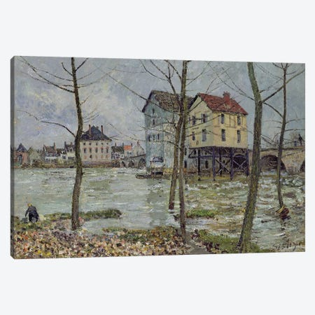 The Mills at Moret-sur-Loing, Winter, 1890 Canvas Print #BMN1393} by Alfred Sisley Canvas Wall Art