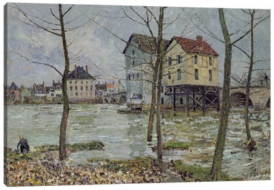 The Mills at Moret-sur-Loing, Winter, 1890 Canvas Art Print