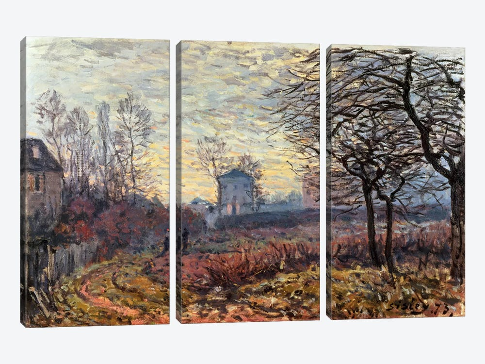 Landscape near Louveciennes, 1873 by Alfred Sisley 3-piece Canvas Artwork