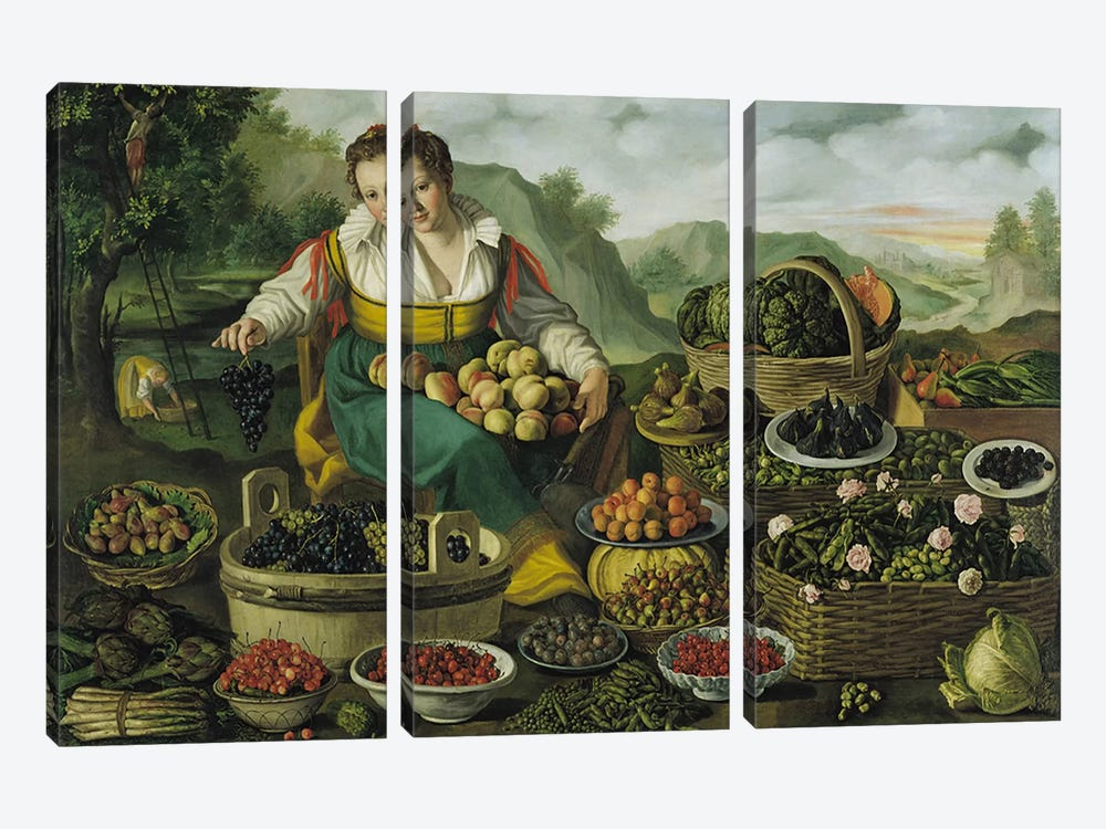 The Fruit Seller  by Vincenzo Campi 3-piece Canvas Print