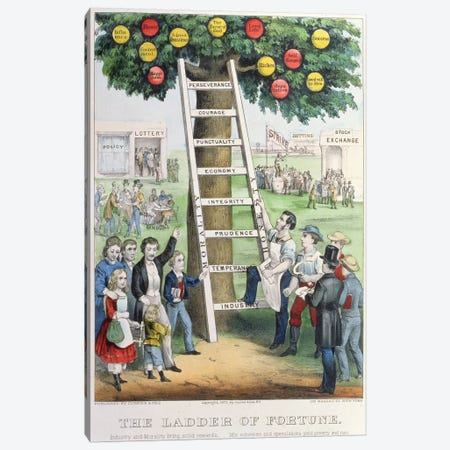 The Ladder of Fortune, pub. by Currier and Ives, New York, 1875  Canvas Print #BMN1397} by American School Canvas Art Print