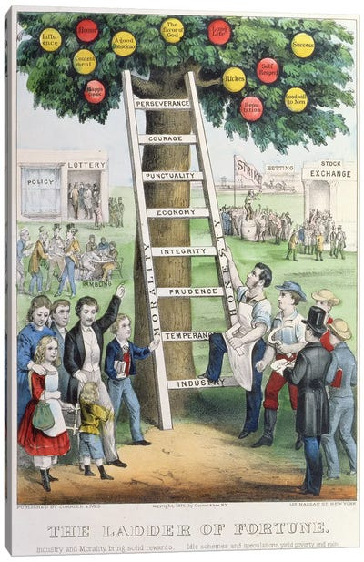 The Ladder of Fortune, pub. by Currier and Ives, New York, 1875  Canvas Art Print