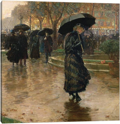 Rain Storm, Union Square, 1890  Canvas Art Print
